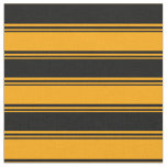 [ Thumbnail: Orange and Black Colored Lines Fabric ]