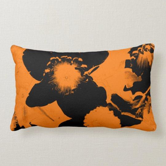 Orange and Black Daffodils Lumbar Pillow