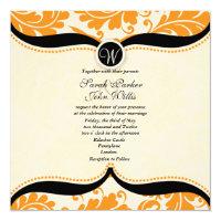 Orange and black damask Paisley Wedding Invite