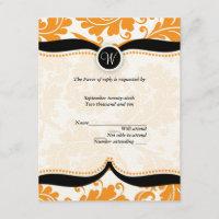 Orange and black  damask Paisley Wedding RSVP