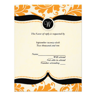 Orange and black  damask Paisley Wedding RSVP Personalized Announcement