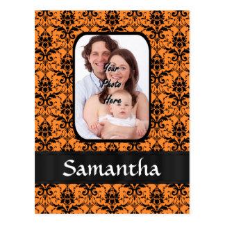 Orange and black damask postcard