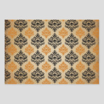 Orange and Black Damask Skull Wrapping Paper Sheets