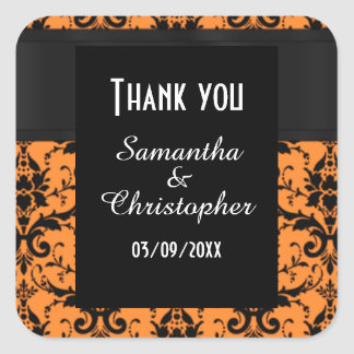 Orange and black damask thank you square sticker
