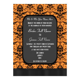Orange and black damask wedding card