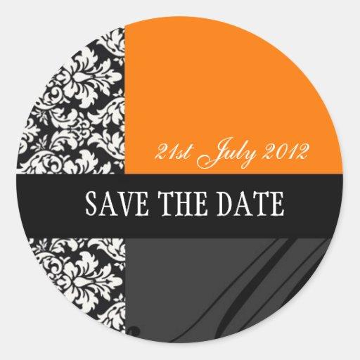 Orange and Black Damask Wedding Stickers