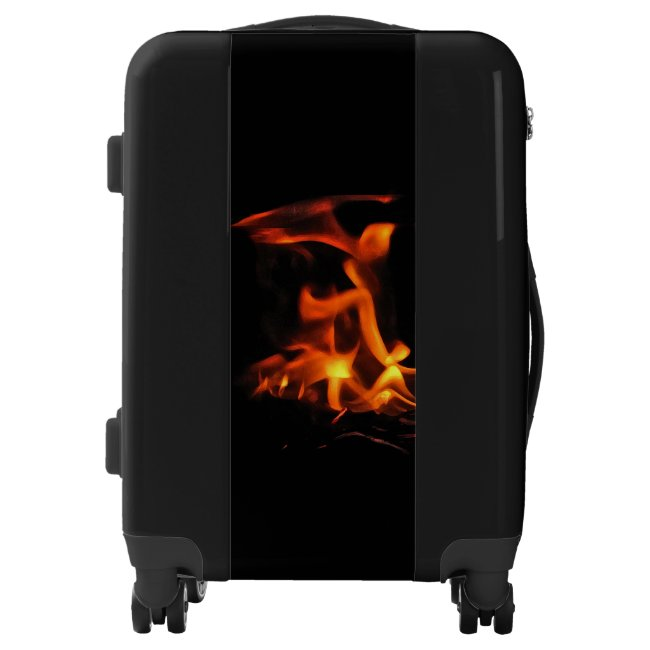 Orange and Black Dancing Fire Abstract Luggage