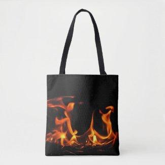 Orange and Black Dancing Fire Flames Tote Bag