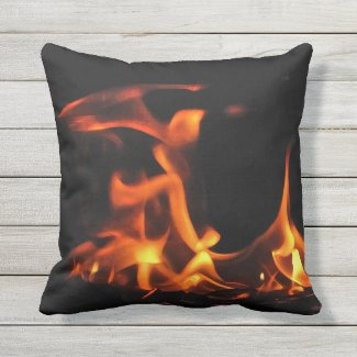 Orange and Black Dancing Fire Outdoor Pillow