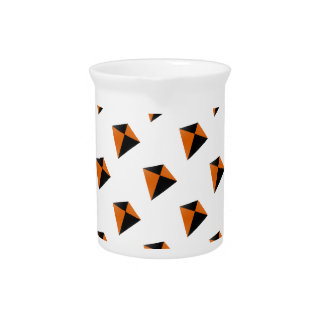 Orange and Black Diamond Kites Drink Pitcher