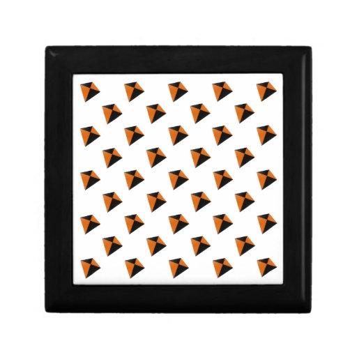 Orange and Black Diamond Kites Trinket Boxes