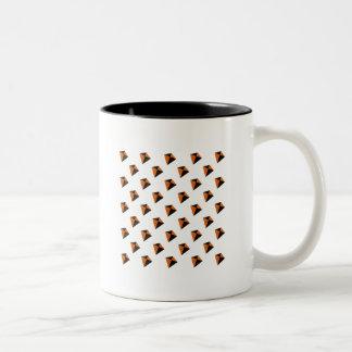 Orange and Black Diamond Kites Two-Tone Coffee Mug