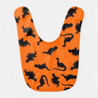Orange and Black Dinosaurs Bib