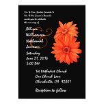 "Orange and Black Double Daisies Wedding 5"" X 7"" Invitation Card"