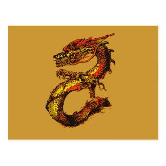 Orange and Black Dragon Art Postcard