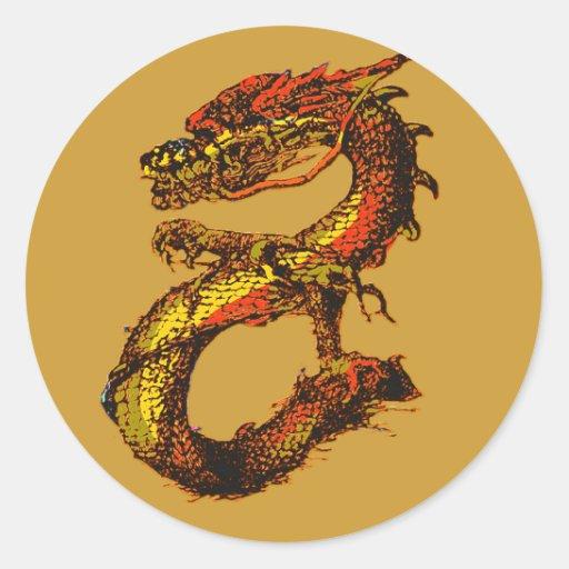 Orange and Black Dragon Art Round Sticker