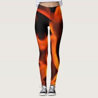 Orange and Black Fire Abstract Pattern Leggings