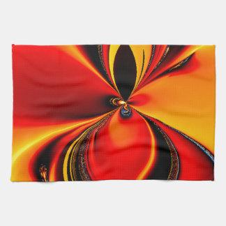 Orange and Black Flavor Fractal Kitchen Towel
