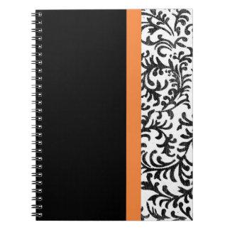 Orange and Black Floral Damask Pattern Spiral Notebook