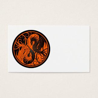 Orange and Black Flying Yin Yang Dragons Business Card