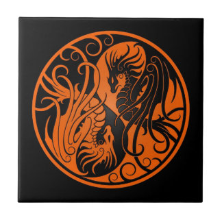 Orange and Black Flying Yin Yang Dragons Tile