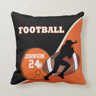 Orange and Black Football   DIY Name & Number Throw Pillow