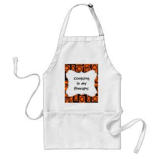 Orange and Black Fun Circle Squares Pattern Gifts Adult Apron