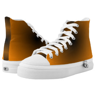 Orange and Black GAX Hi-Top Printed Shoes