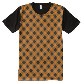 Orange and Black Gingham Checked Pattern
