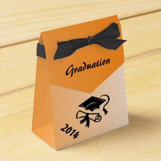 Orange and Black Graduation Personalized Favor Box