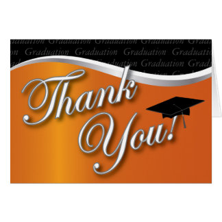 Orange and Black Graduation Thank You Stationery Note Card
