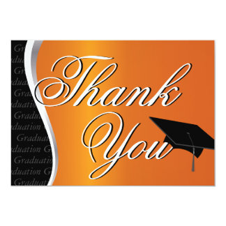 Orange and Black Graduation Thank You 5x7 Paper Invitation Card