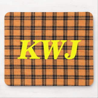 Orange and Black Halloween Colored Plaid Fabric Mouse Pad