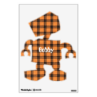 Orange and Black Halloween Colored Plaid Fabric Wall Decal