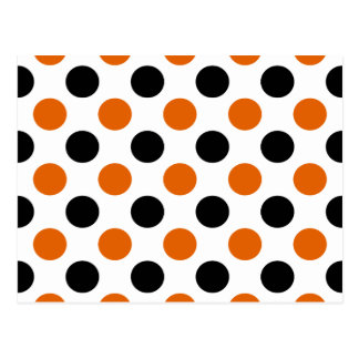 Orange and Black Halloween Polka Dots Postcard