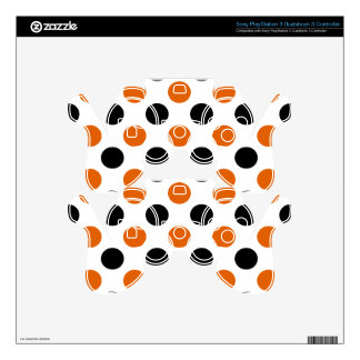 Orange and Black Halloween Polka Dots Skin For PS3 Controller
