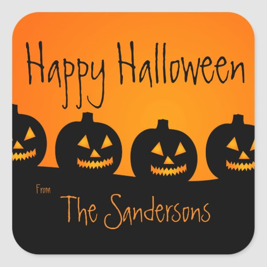 Orange and Black, Halloween Pumpkins Stickers