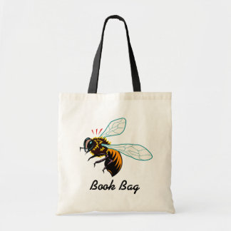 Orange and black hornet wasp bee flying tote bag