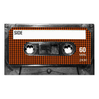 Orange and Black Houndstooth Cassette Double-Sided Standard Business Cards (Pack Of 100)