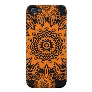 Orange and Black Lace Doily Snowflake Mandala iPhone SE/5/5s Cover