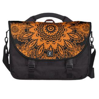 Orange and Black Lace Doily Snowflake Mandala Computer Bag