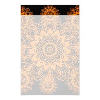 Orange and Black Lace Doily Snowflake Mandala Stationery