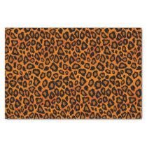 Orange and Black Leopard Animal Print Tissue Paper