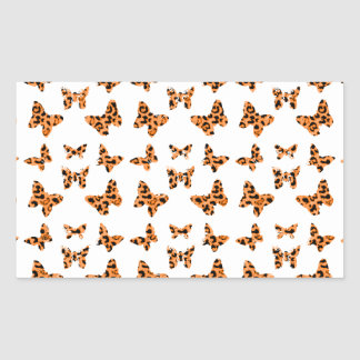 Orange and Black Leopard Spotted Butterfly Pattern Rectangular Sticker