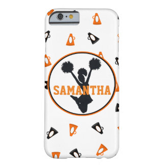 Orange and Black Megaphones Cheer Personalized Barely There iPhone 6 Case