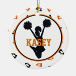 Orange and Black Megaphones Cheerleader Ornaments