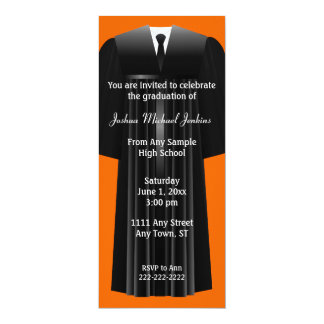 "Orange and Black Mens Graduation Invitation 4"" X 9.25"" Invitation Card"