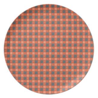 Orange and Black Mini Plaid Check Plate