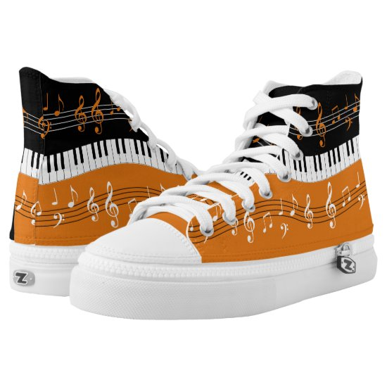 Orange and  Black music themed High-Top Sneakers