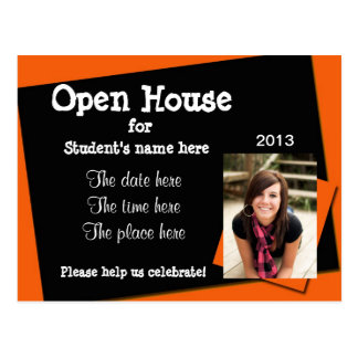 Orange and black open house invitation postcard